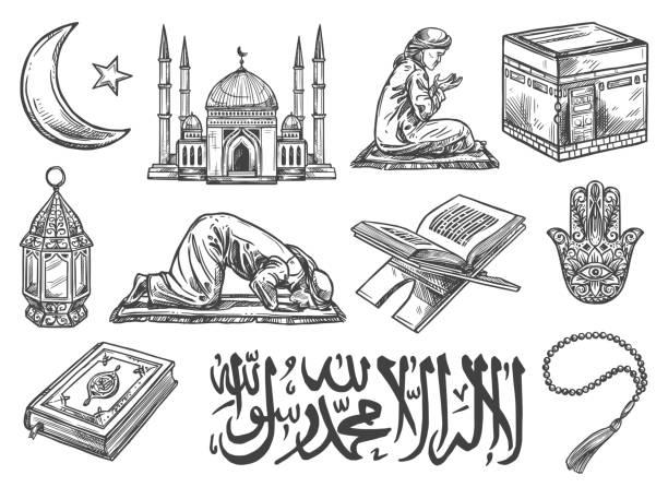 ilustrações de stock, clip art, desenhos animados e ícones de islam religion symbols and cultural icons isolated - cora��o