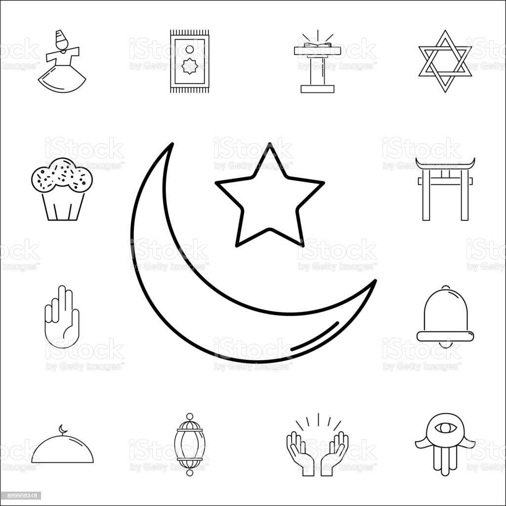 Islam Star And Crescent Moon Icon Set Of Religion Icons Web Icons