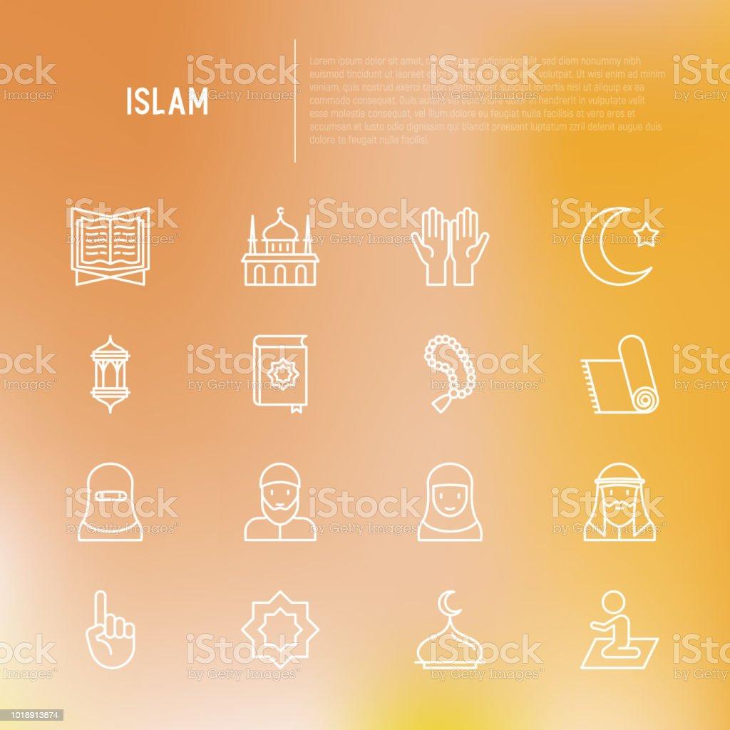 Islam thin line icons set: mosque, carpet, rosary, prayer, koran, moslem. Modern vector illustration. vector art illustration