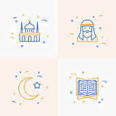 Islam thin line icons set: mosque, prayer, koran, moslem. Modern vector illustration.