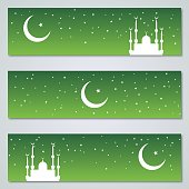 Islamic green banners vector collection with night sky background