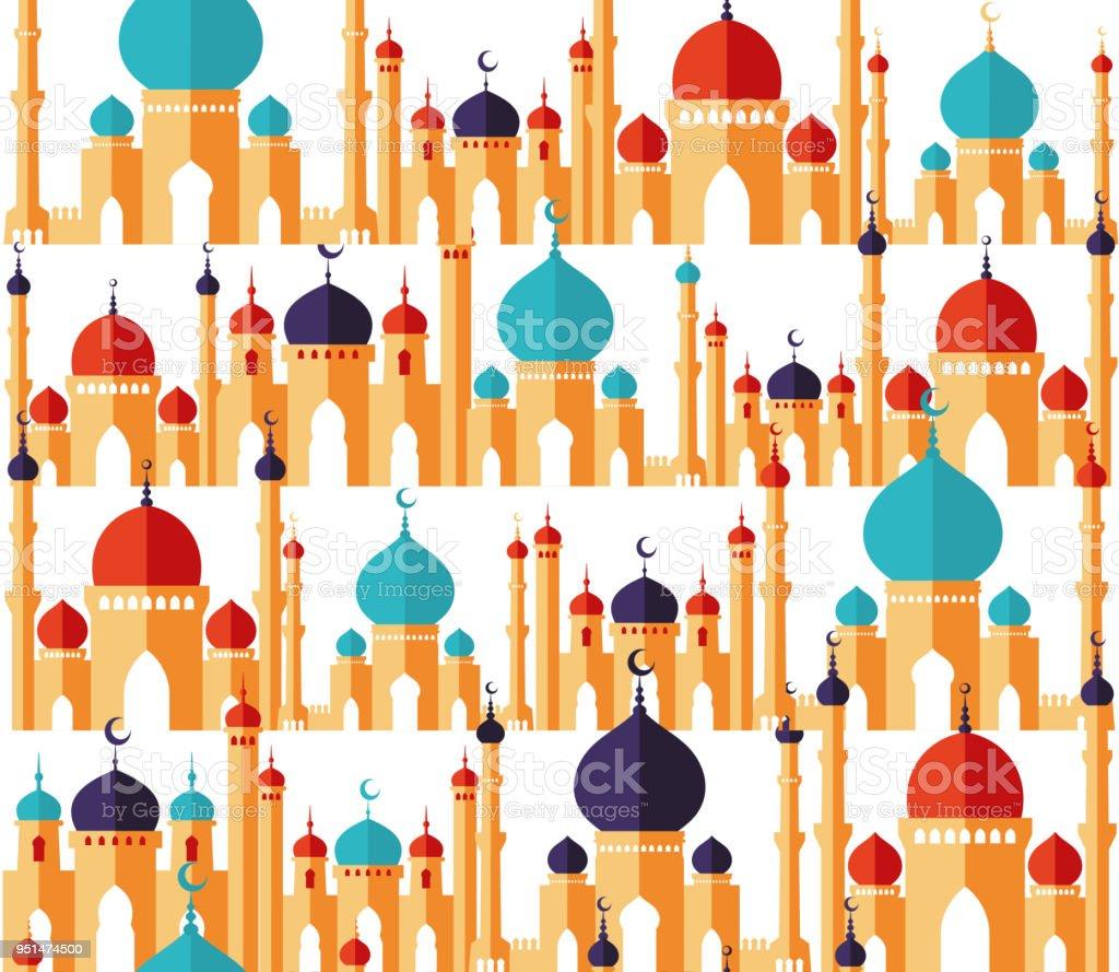 Islamische Schöne Designvorlage Arabischen Ornamenten Nahtlose Muster Der Moscheen In Flachen Stil Ramadan Kareem Grußkarte Banner Abdeckung Oder