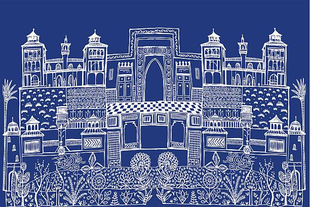 Islamic City Scape vector art illustration