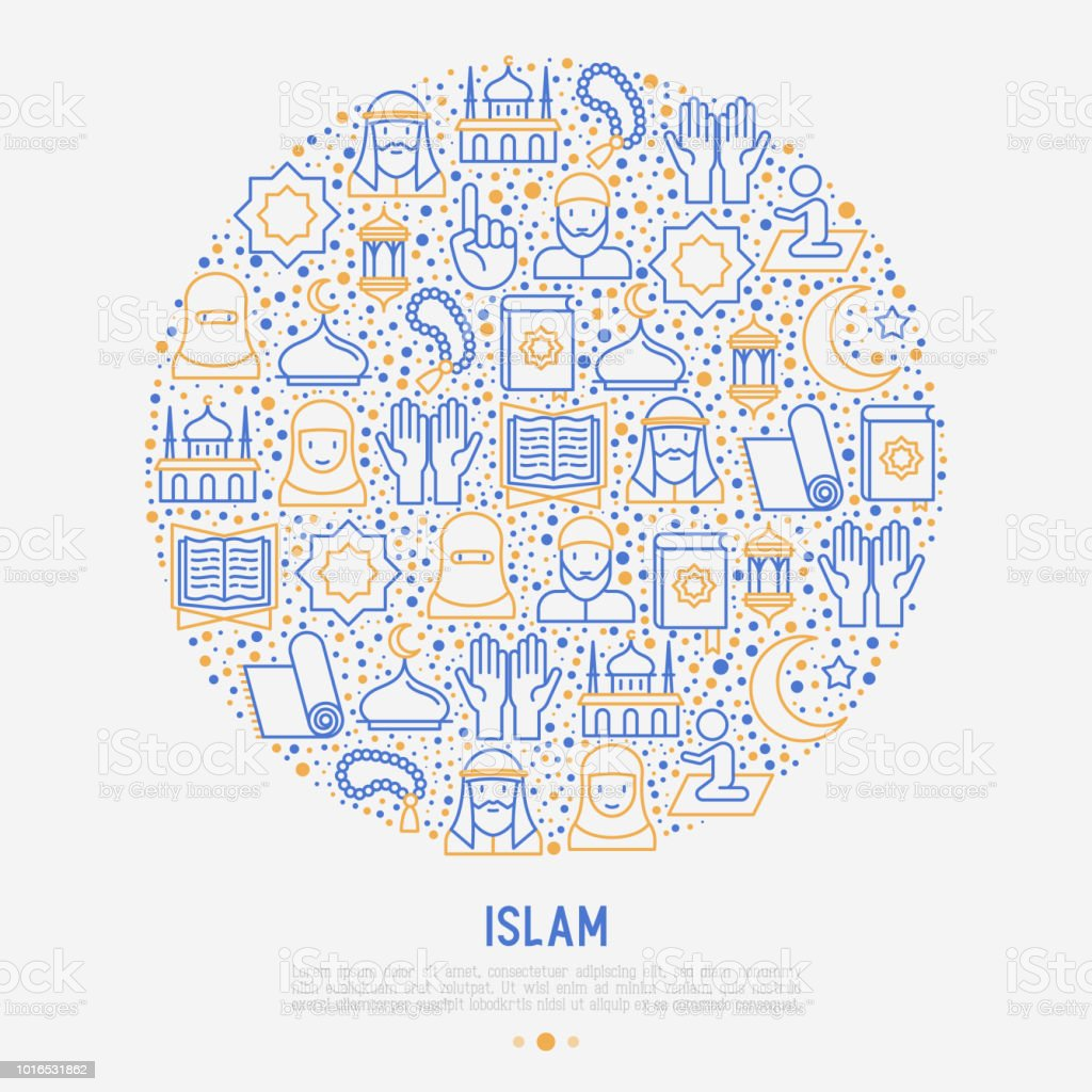 Islamic concept in circle with thin line icons: mosque, carpet, rosary, prayer, koran, moslem. Modern vector illustration, template for web page. vector art illustration