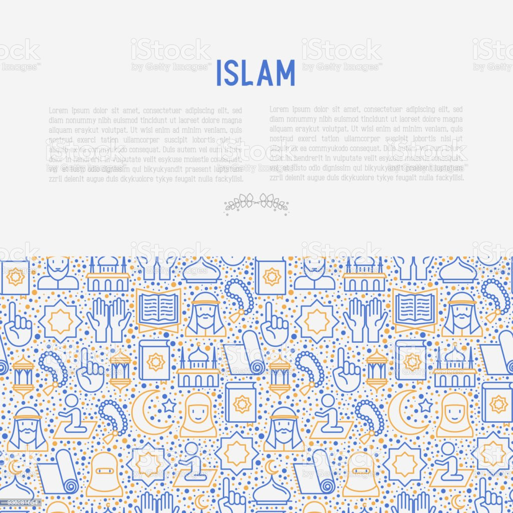 Islamic Concept With Thin Line Icons Mosque Carpet Rosary Prayer ...