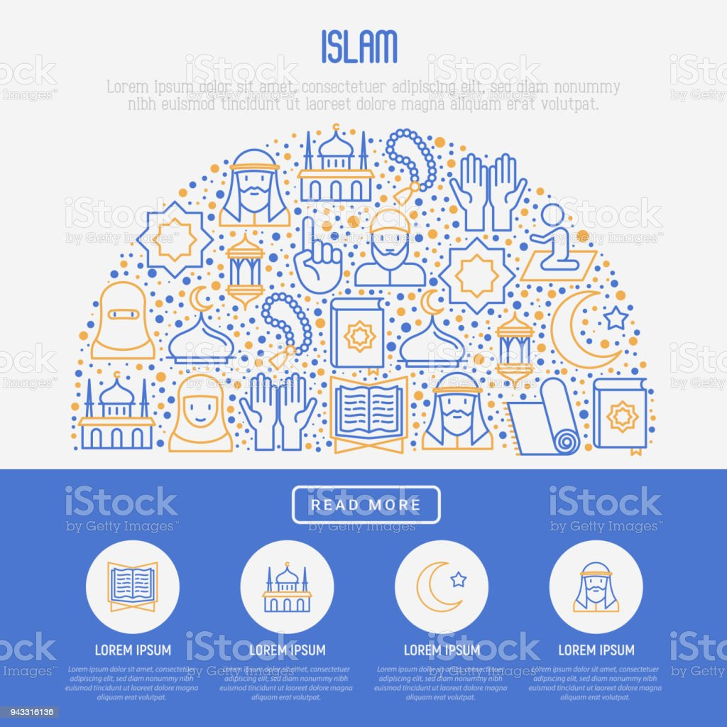 Islamic concept with thin line icons: mosque, carpet, rosary, prayer, koran, moslem. Modern vector illustration, template for web page. vector art illustration