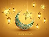 Islamic crescent moon and lanterns. Islamic decoration. Ramadan Mubarak - Have a blessed Ramadan.