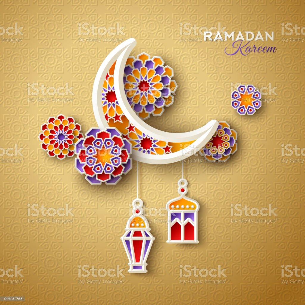伊斯蘭教的新月與燈籠 - 免版稅亮粉圖庫向量圖形