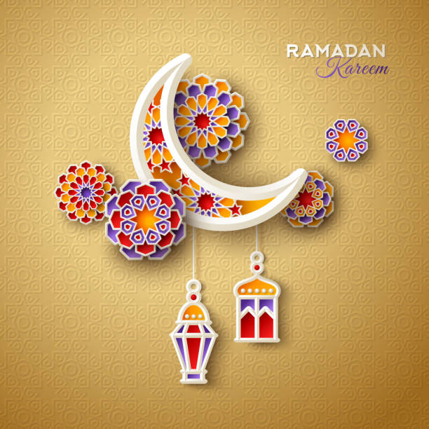 Islamic crescent with lanterns vector art illustration