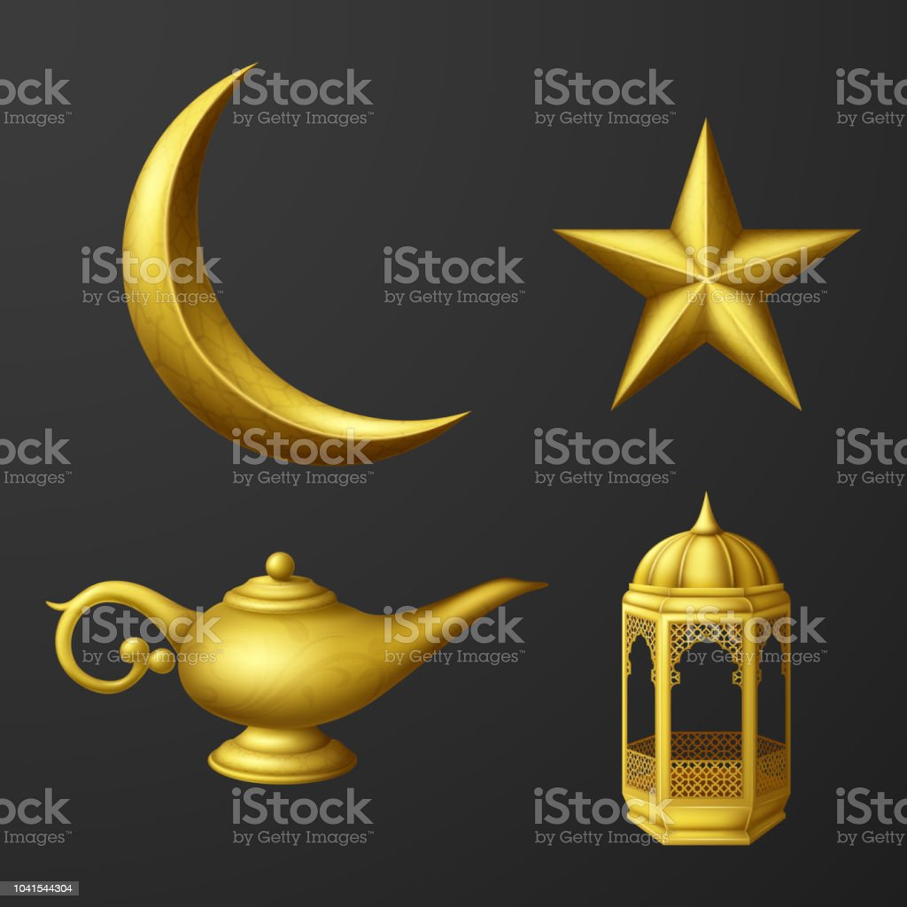 Islamic culture icons collection set vector art illustration