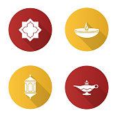 Islamic culture flat design vector icons. Muslim star, lantern, oil lamps