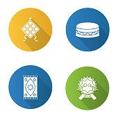 Islamic culture flat design vector icons. Ketupat, drum, praying mat