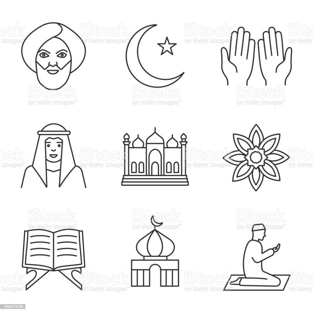 Islamic culture icons vector art illustration