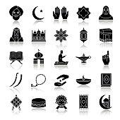 Islamic culture drop shadow vector icons set