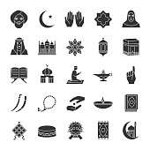 Islamic culture glyph icons set. Vector silhouettes