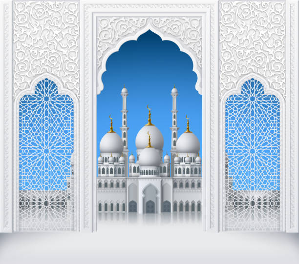 Islamic Design Arch with Mosque vector art illustration