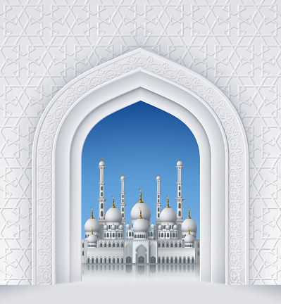 Islamic Design Arch with Mosque