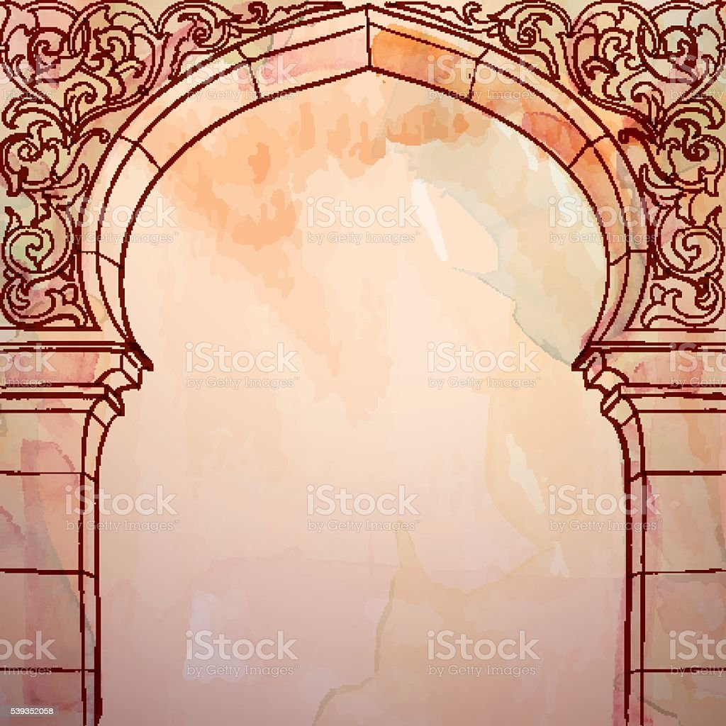 Arabic Book Cover Design Vector ~ Islamic design background mosque door with floral ornament