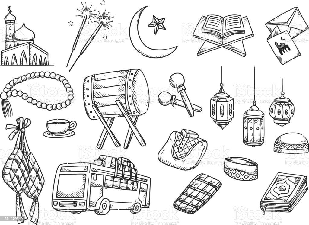 Islamic doodle, suitable for Ramadan or Eid mubarak event vector art illustration