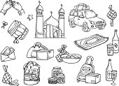 Islamic doodle, suitable for Ramadan or Eid mubarak event