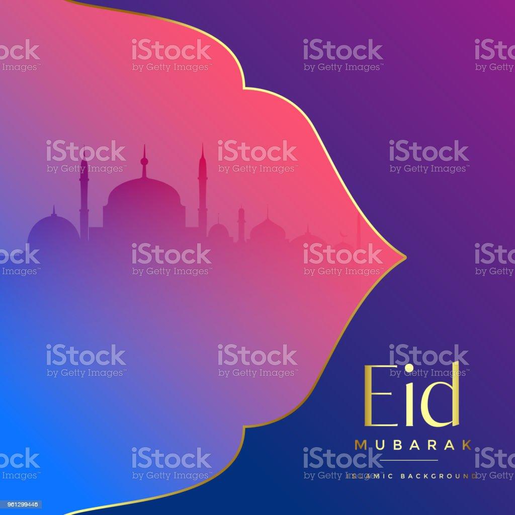 islamic eid mubarak festival greeting vector art illustration