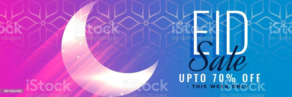 islamic eid sale banner header design with shiny moon vector art illustration