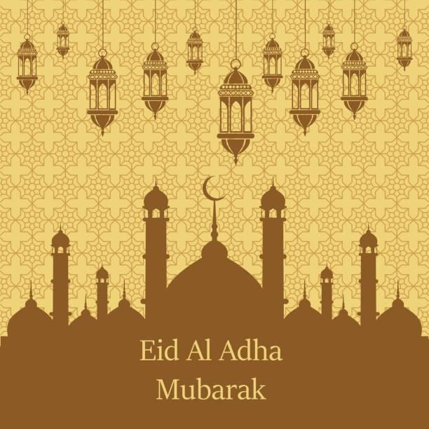 ilustrações de stock, clip art, desenhos animados e ícones de islamic festival of sacrifice, eid al adha mubarak greeting card. vector background. - cora��o