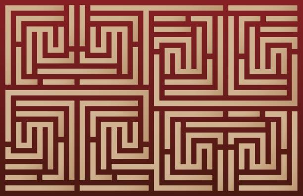 islamic geometric vector pattern - карниз stock illustrations