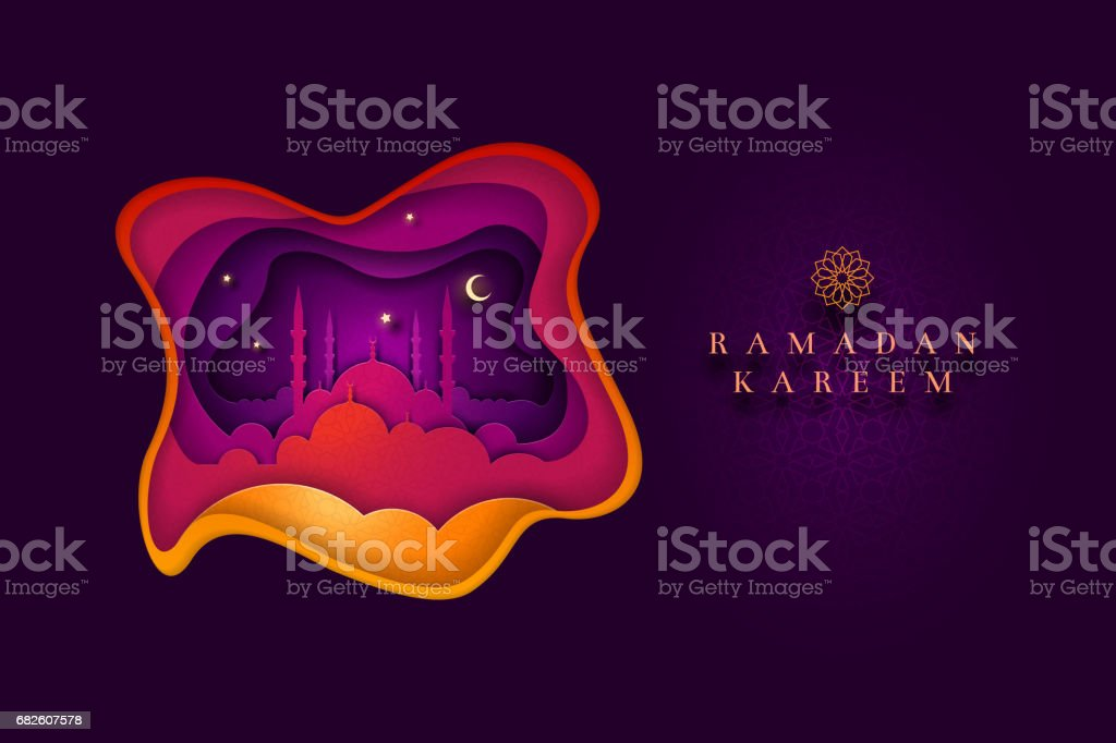 Islamic greeting card design for Ramadan Kareem vector art illustration
