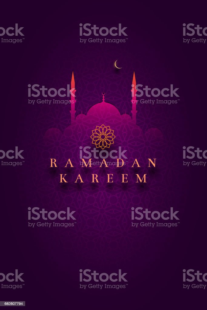 Diseño de tarjeta de saludo islámico para Ramadán Kareem - ilustración de arte vectorial
