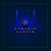 Islamic greeting card design for Ramadan Kareem. Paper art style vector illustration. Elements are layered separately in vector file.