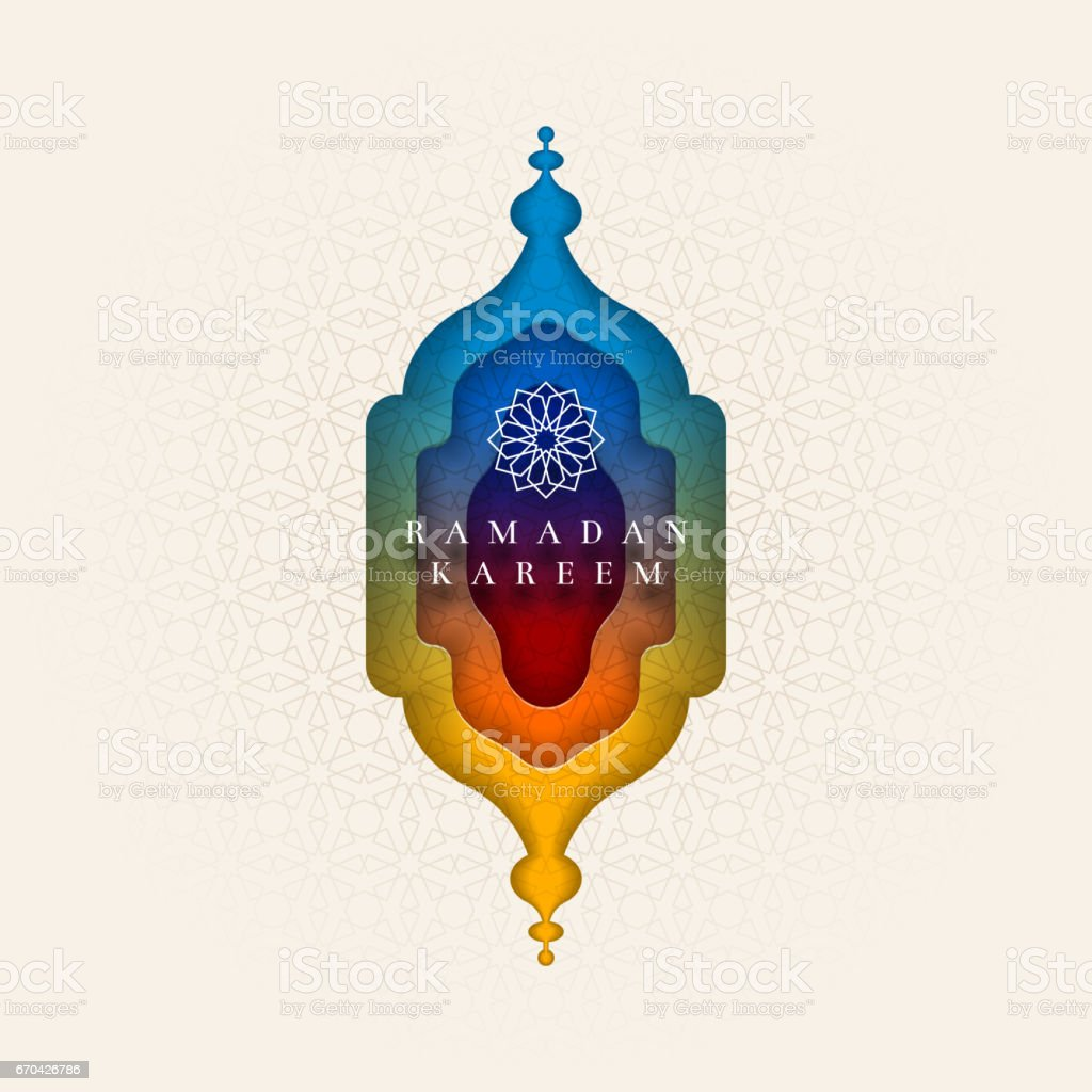 Islamic greeting card design for Ramadan. ベクターアートイラスト