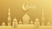 Islamic greeting card for Ramadan Kareem. Beautiful festive background with crescent and arabic mosque in paper art style. Vector illustration with lettering. Translation from Arabic: Ramadan Kareem.