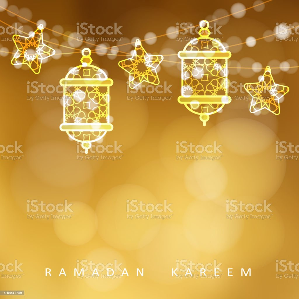 Islamic greeting card garlands with oriental arabic lanterns stars islamic greeting card garlands with oriental arabic lanterns stars and lights golden vector m4hsunfo