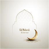 islamic greeting eid mubarak card design background with golden crescent moon