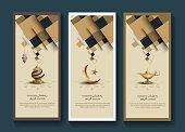 islamic greeting ramadan kareem brochure card template design with lanterns, lamp and crescent moon