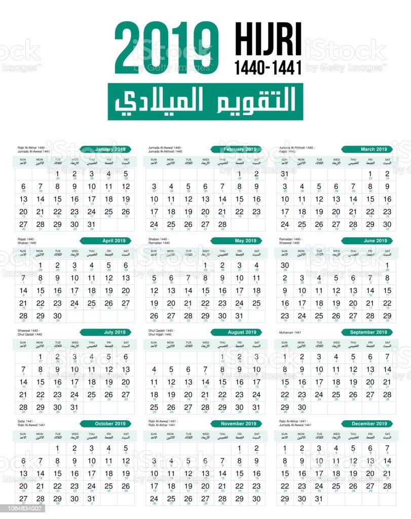 Islamic Lunar Calendar 2019 2019 Islamic Hijri Moon Calendar Vector Template Design Stock