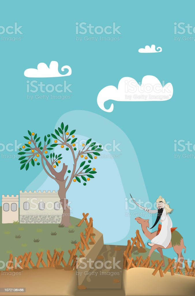 Islamic historical drawings set for children. vector art illustration
