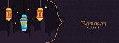 Islamic Holy Month of Ramadan Kareem Banner with Illuminated Lanterns, Mosque Silhouette on Purple Textured Background.