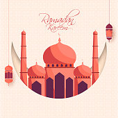Islamic Holy Month of Ramadan Kareem concept with hanging  lanterns, and mosque on white background.