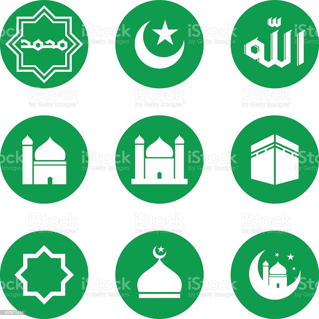 Islamic Icons vector art illustration