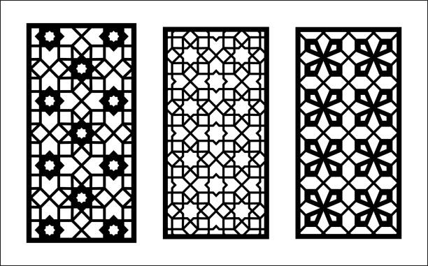 Islamic laser pattern. Set of decorative vector panels for laser cutting. Islamic template for interior partition in arabesque style. Islamic laser pattern. Set of decorative vector panels for laser cutting. Islamic template for interior partition in arabesque style. Ratio 1 2 decorative laser cut set stock illustrations