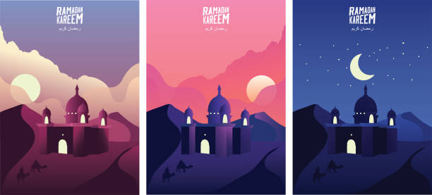 Islamic mosque in the desert sand at sunrise, sunset and night. Ramadan kareem greeting banners set template vector illustration. - Vector Islamic mosque in the desert sand at sunrise, sunset and night. Ramadan kareem greeting banners set template vector illustration. - Vector ramadan stock illustrations