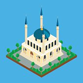 Islamic mosque with minaret towers
