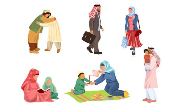 イスラム教徒の家族や日常のことをしている人々ベクトルイラスト - 妻点のイラスト素材/クリップアート素材/マンガ素材/アイコン素材