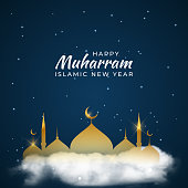 Islamic new year design greeting card , poster. Vector Illustration EPS10