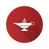 Islamic oil lamp flat design vector icon