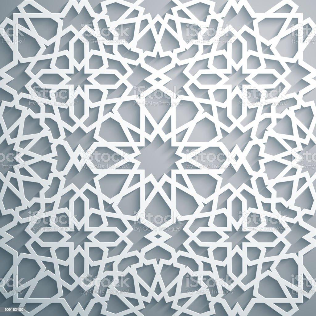 Islamic Ornament Vector Persian Motiff White Background Light 3d ...