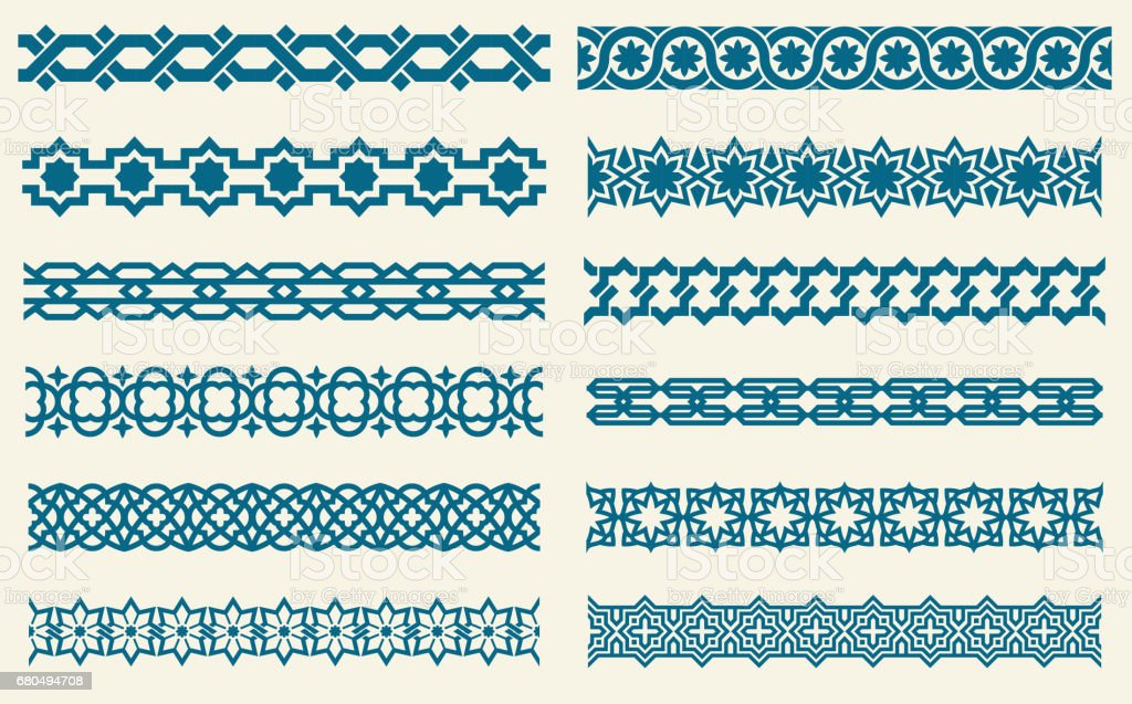 Islamic ornaments link seamless vector decorative borders vector art illustration