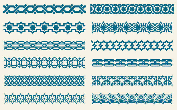 illustrazioni stock, clip art, cartoni animati e icone di tendenza di islamic ornaments link seamless vector decorative borders - arabia